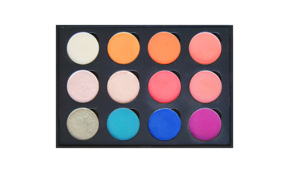 12 small well palette from  eBay , similar palettes also available from Coastal Scents (with  Mirror  or  Clear Lid )  Top row:  Blowfish ,  Chauffeur ,  Bratty ,  Summer Lovin   Middle row:  Liar Liar ,  I'm Peachless ,  Making Moves ,  Heavy Glam   Bottom row:  Bashful ,  Formation ,  Backstage ,  143