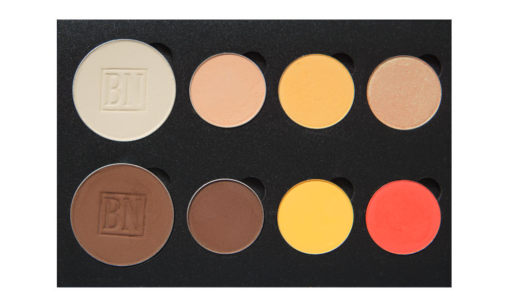 6 small/2 large well palette from  Coastal Scents   Top row:  Toast ,  Peach Smoothie ,  Tiki ,  Play By Play   Bottom row:  Dark Brown ,  Dark Roast ,  Take Flight ,  Meteorite