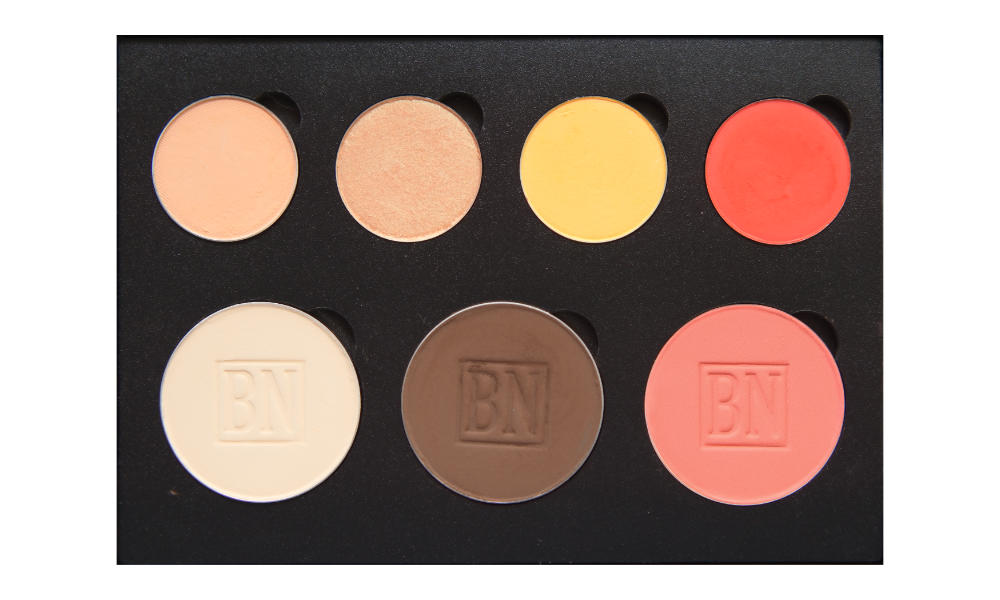 4 small/3 large well palette from  Coastal Scents   Top row:  Peach Smoothie ,  Play By Play ,  Tiki ,  Meteorite   Bottom row:  Toast ,  Dark Brown ,  Nectarine  (blush)