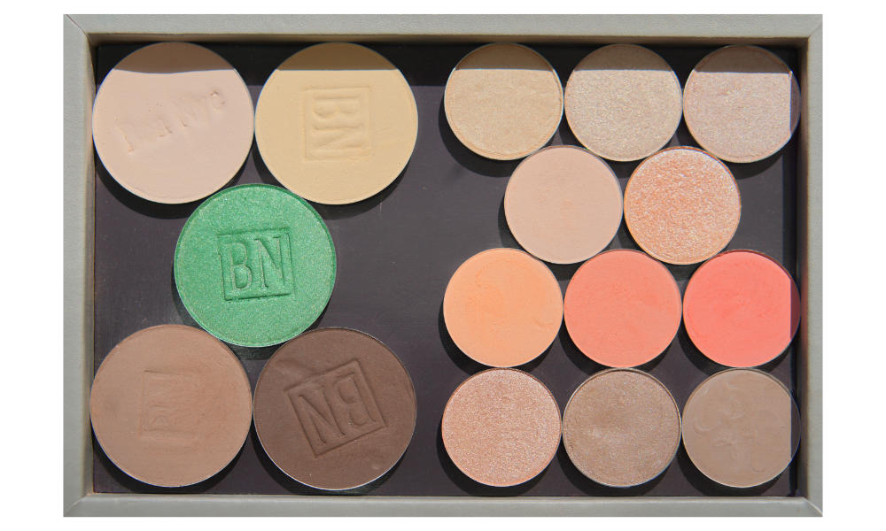 Freestyle palette from Salt New York in  French Grey , also available in  Black   Large pans:  Top row:  Shell ,  Banana   Middle row:  Mermaid Green   Bottom row:  Taupe ,  Mink Stole   Small pans:  1st row:  Rapunzel ,  Let Me Explain ,  Shimma Shimma   2nd row:  Hear Me Out ,  Ready Or Yacht   3rd row:  Issues ,  Lay Low ,  Wait For It   4th row::  Ringer ,  Hipster ,  Chestnut-Napped Apalis