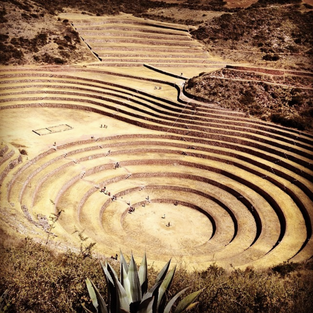 I took this photo of the Moray Ruins in Peru. This was a laboratory the Incans used to learn about how plants best grew in different conditions and altitudes. There is a lot of duality symbolism in Incan art, stories and architecture and I felt it reflected in the landscape there.