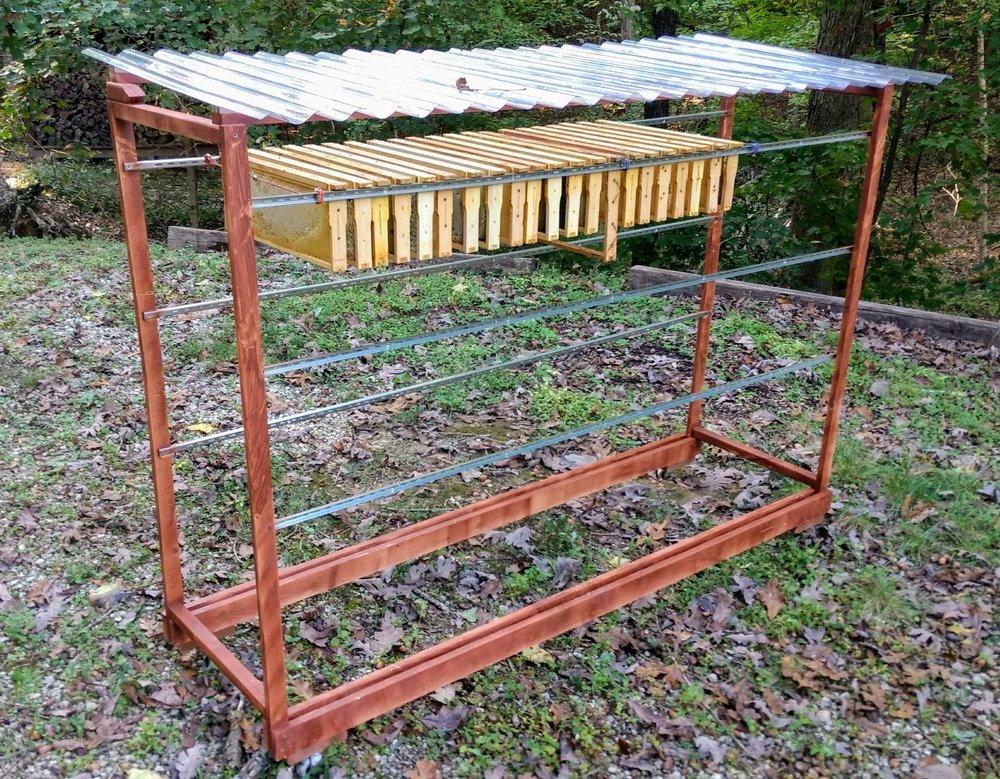 Homemade honey bee frame open storage rack