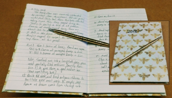 One of my own beekeeping journals