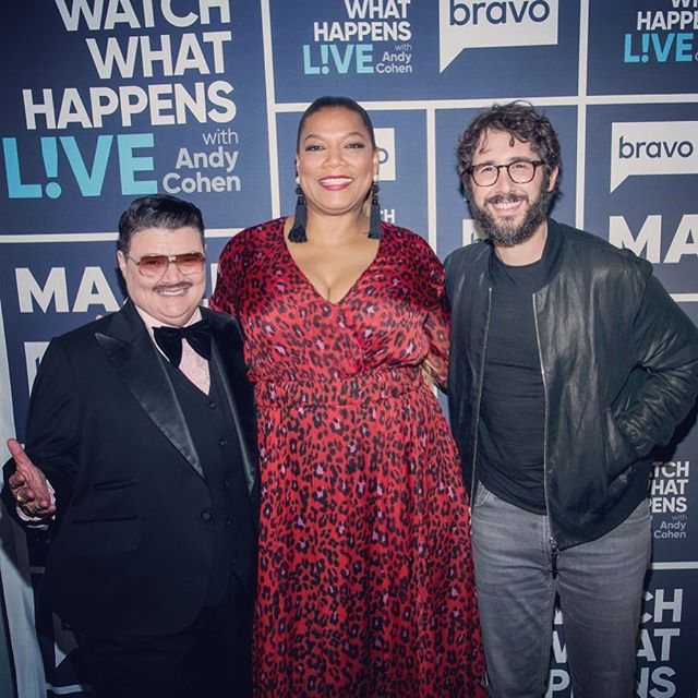 SHOWBIZ with @queenlatifah & @joshgroban at my fav late night spot @bravoandy @bravowwhl show! (Note: I'm sitting down in this pix) #tbt #comedy #unity