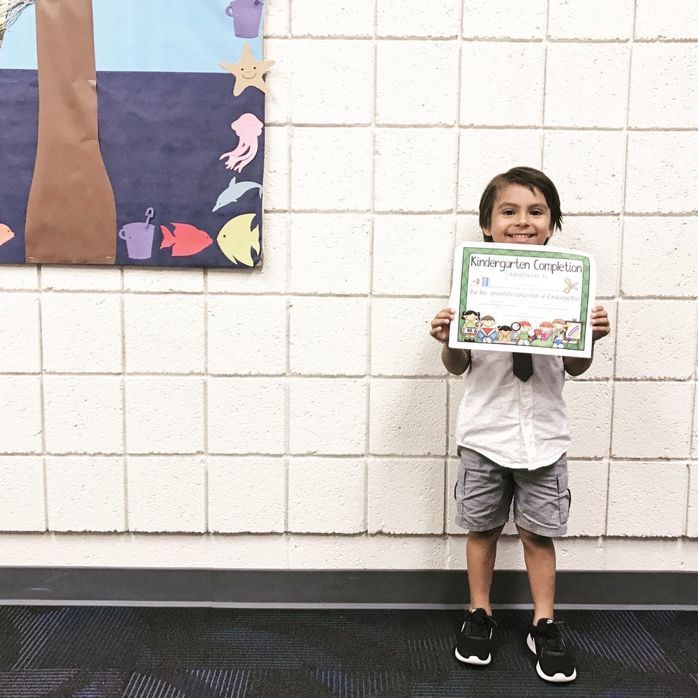 His first year in Arizona in a public school with full days of kinder and riding the bus. In Orange County they still did a Preschool like schedule which I always thought was weird.