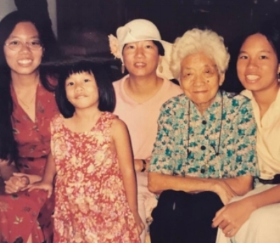 Christina, as a child with her sisters, mother, and Grandma Ruth