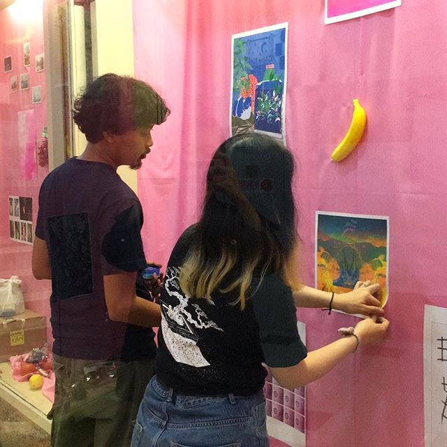 "Djohan Hanapi (@djohahn) and Marilyn Goh Yun Jin (@marl_brutality_level99) the masterminds of Knuckles & Knotch (@knucklesandnotch)! 🍎🍇🍐🍉🍌 _ We are a Risograph print and publishing studio based in Singapore. Our concept of exploring possibilities of print and colour often translates to a series of empirical productions with a hint of morbid humour. In collaboration with other creatives who are willing to push boundaries, we enlighten the public with bright colours and engage them into a waking dream. In addition to creating quirky works, we aim to provide anyone with a sense of aesthetics an alternative to the conventional printing processes available. We dip towards working with those that seek to achieve effects that differ from mainstream printing. #risograph #risographsg _ @islands.peninsula x @knucklesandnotch  _ Risograph Exhibition ""FANTASY ISLAND"" 26 October - 30 November 2018"