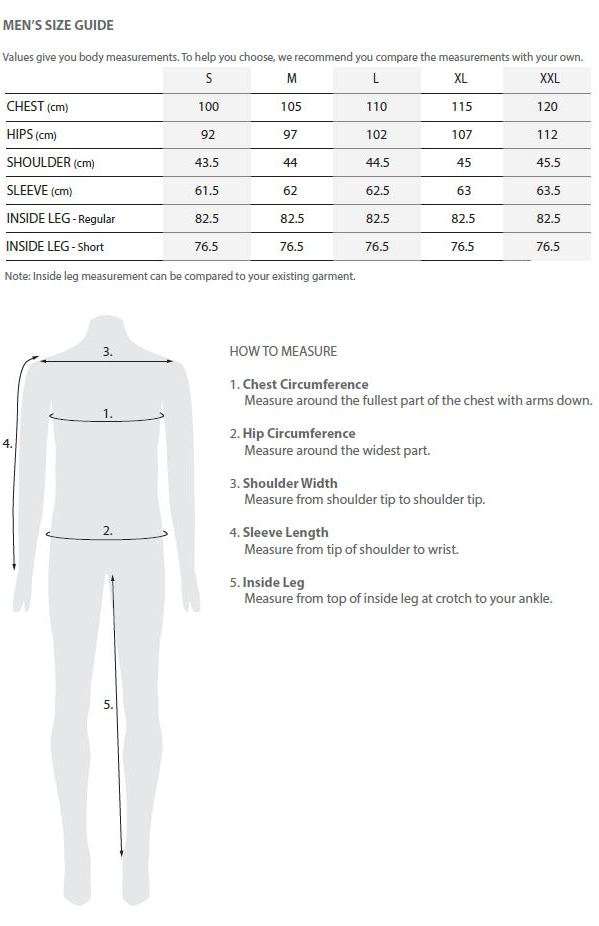 Tooralie men's size guide