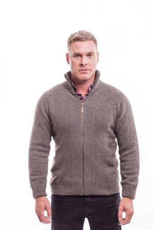 72db0d0d6f4 McDonald Textiles Rib Front Jacket (Bark) — Merino Wool