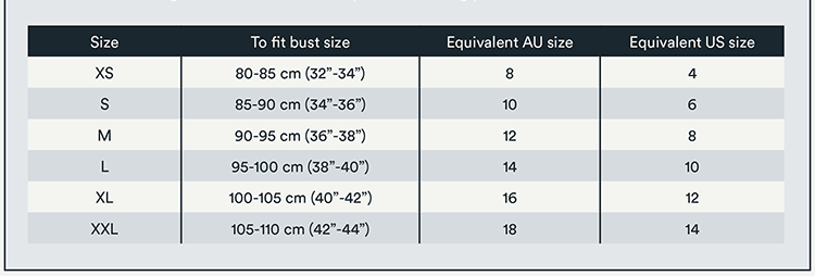 Merinosnug sizing information for Merino wool, eco fur blend woollen clothing for women.