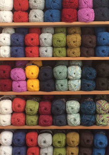 A selection of the White Gum wool yarn range at the Uralla Wool Room — the colour range is impressive!