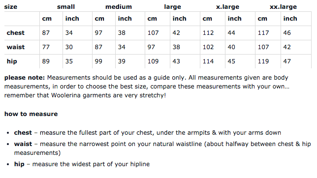 Woolerina men's sizing chart for measurements.