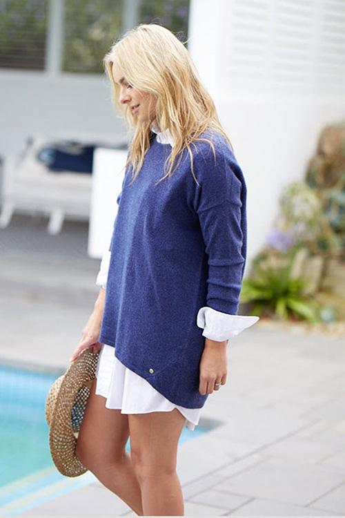 MIA FRATINO'S Scoop Sweater, indigo colour