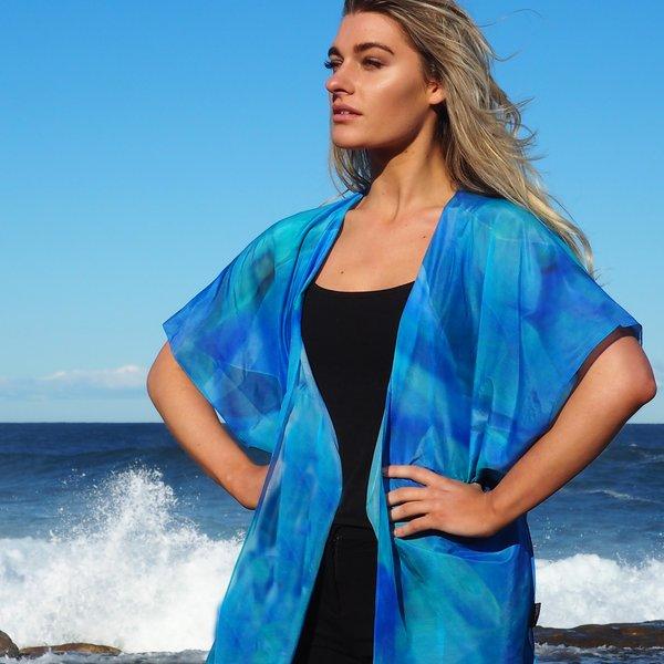 Silk Art Scarves | Kimono — Hydrangea Blue $145.00