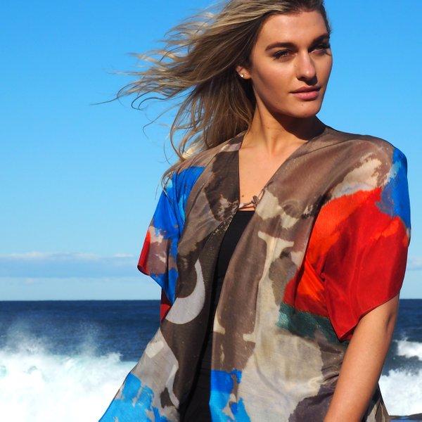 Silk Art Scarves | Kimono — Metro 1 Blue $145.00