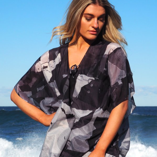Silk Art Scarves | Kimono — Metro 1 Black $145.00