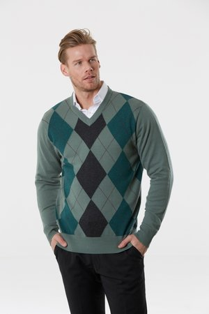8407760bd5031 Bridge  amp  Lord — Argyle V-Neck Pullover (Merino wool and cashmere) ...