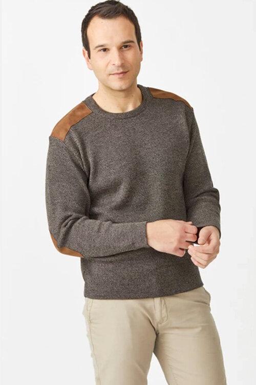Aklanda — Men's Crew Neck Pullover, Merino wool, with suede (Style 7415) | The Uralla Wool Room