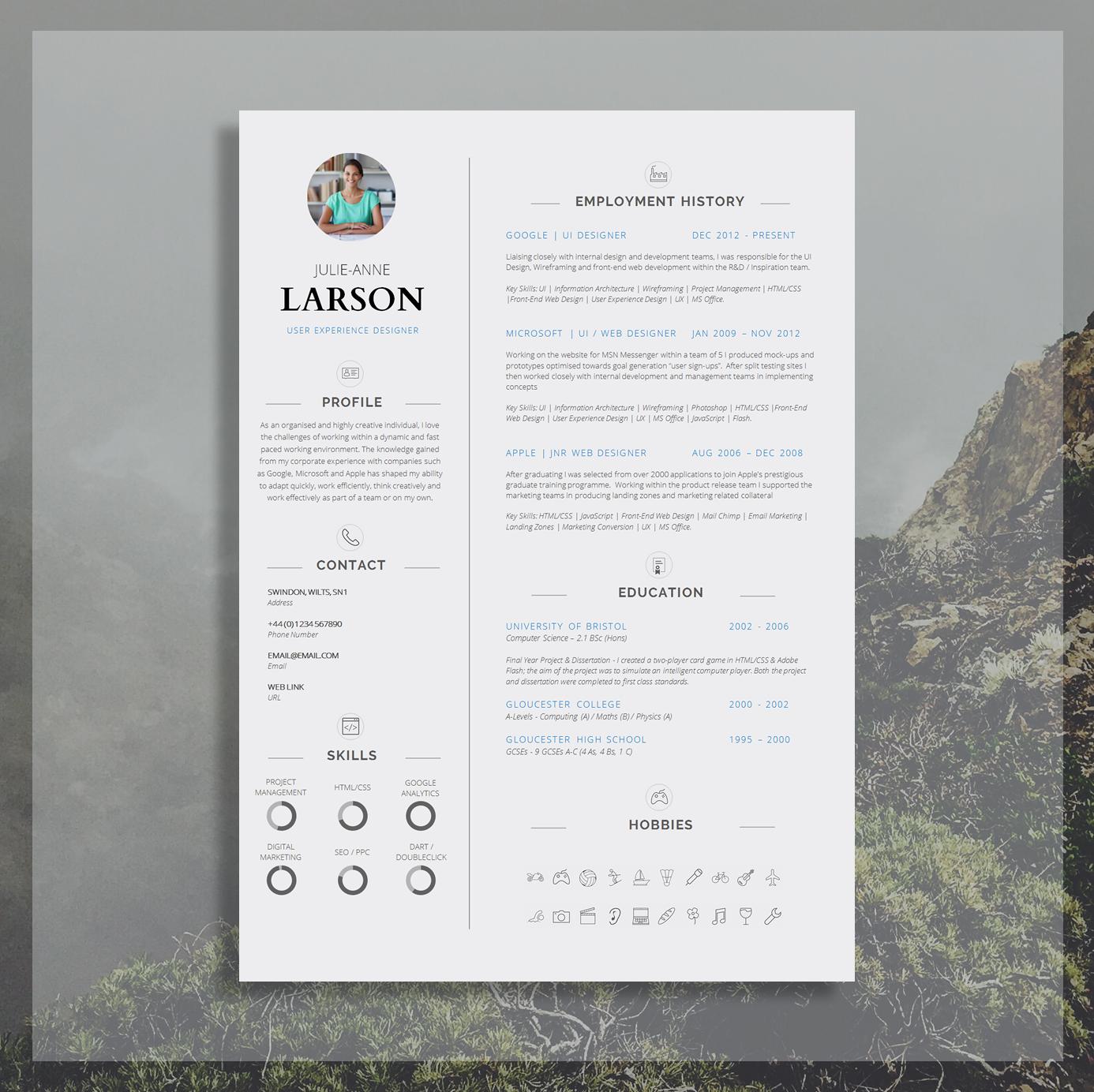 Resume Template Cv Template Cover Letter Application Advice Ms Word Resume Design Cv Design Instant Download Belgravia The Career