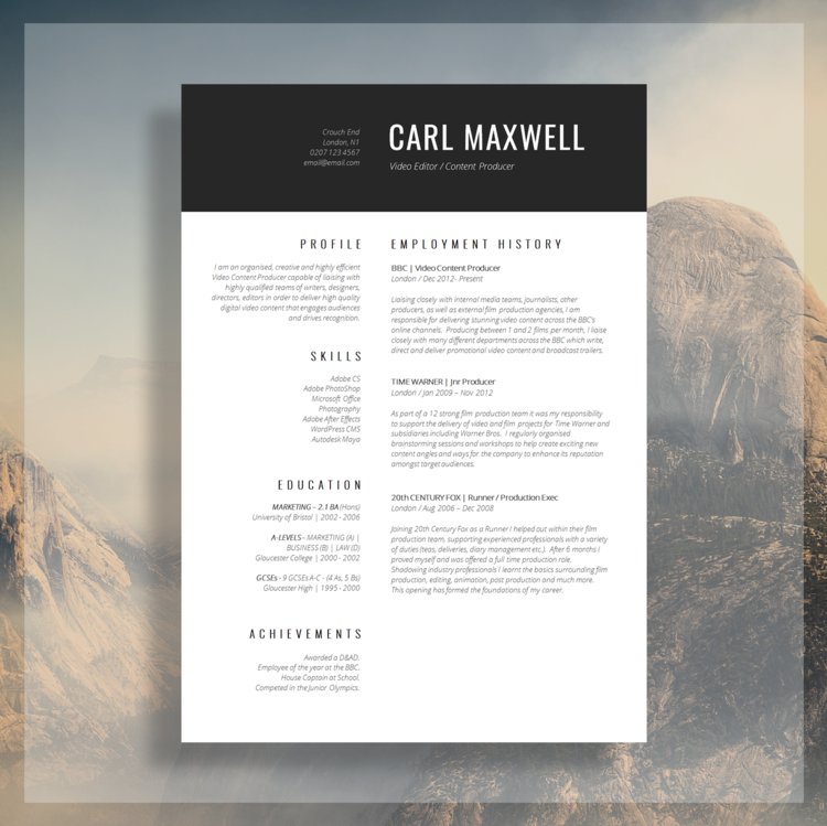 Professional resume template cv template resume advice cover professional resume template cv template resume advice cover letter word mac or pc instant digital download mayfair yelopaper Gallery