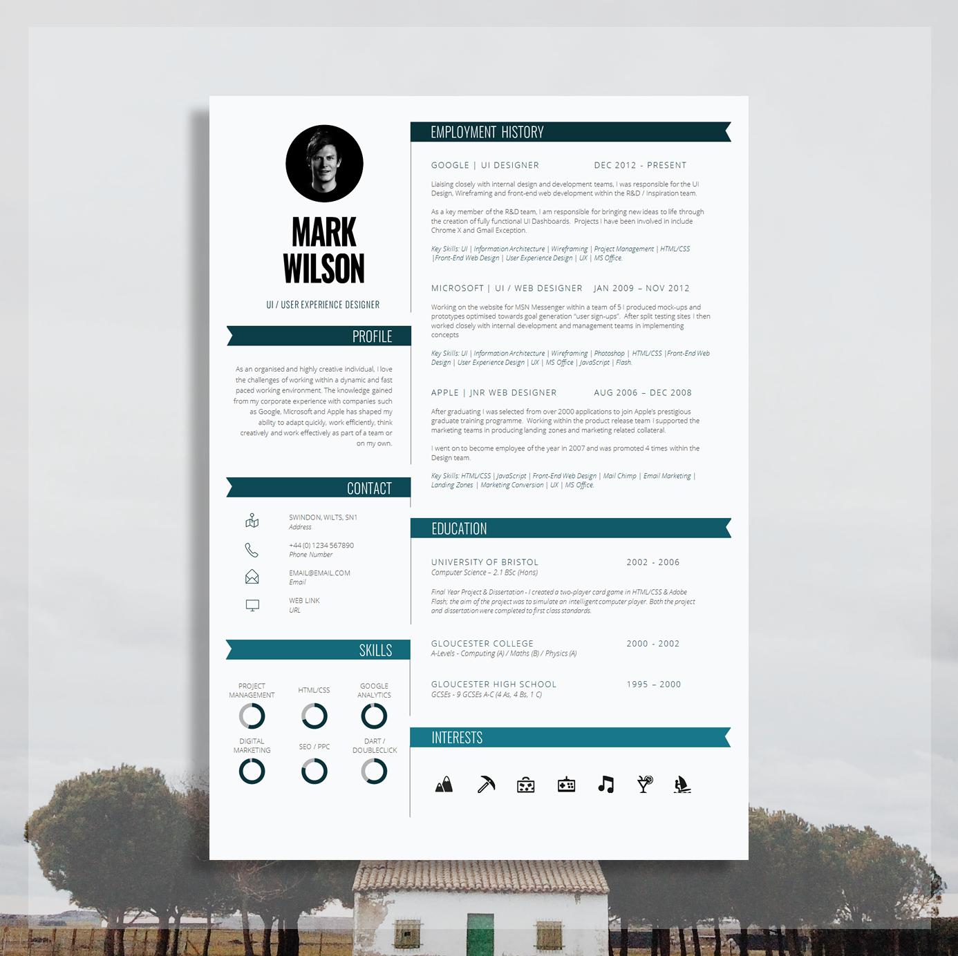 Modern Resume Template Modern Cv Template Modern Cv Design Cover Letter For Ms Word Instant Digital Download Pimlico The Career
