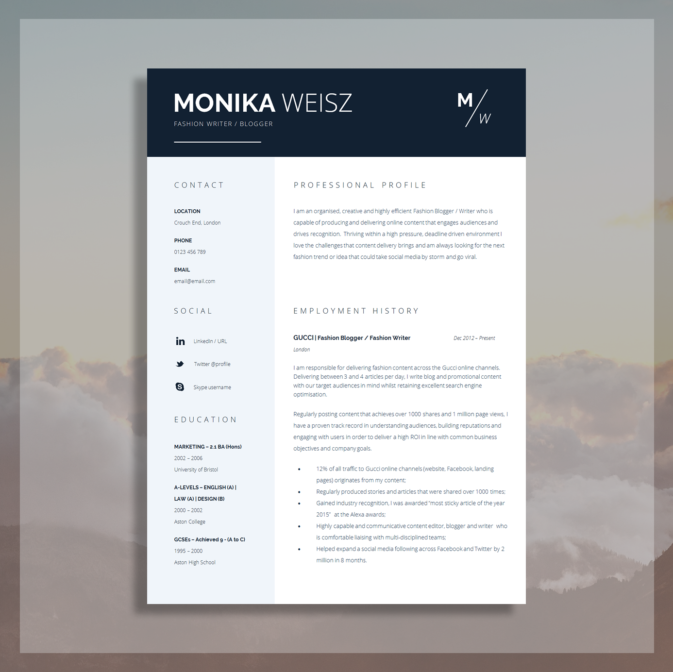 creative resume template cover letter cv guide for ms word