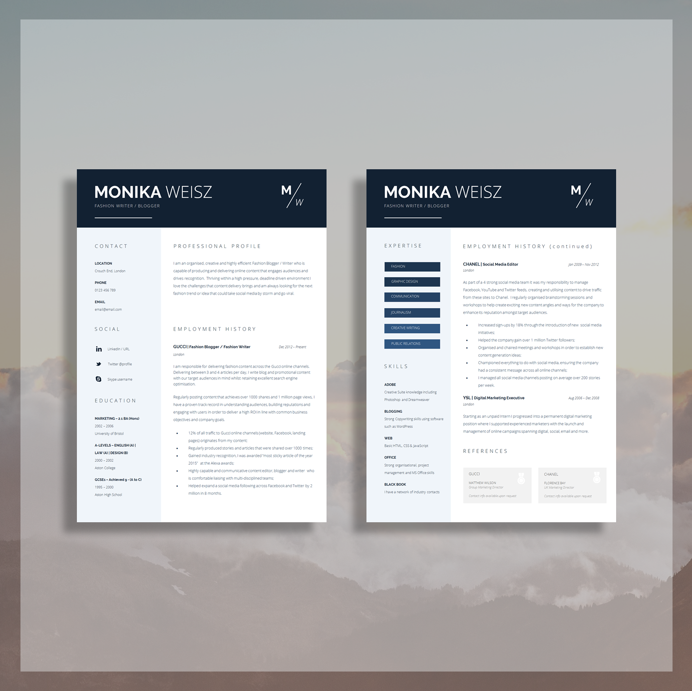 creative resume template + cover letter + cv guide for ms word