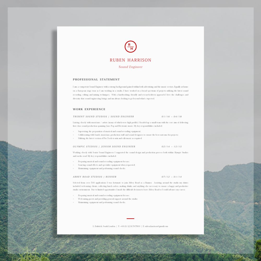 Download the CV Template Here.