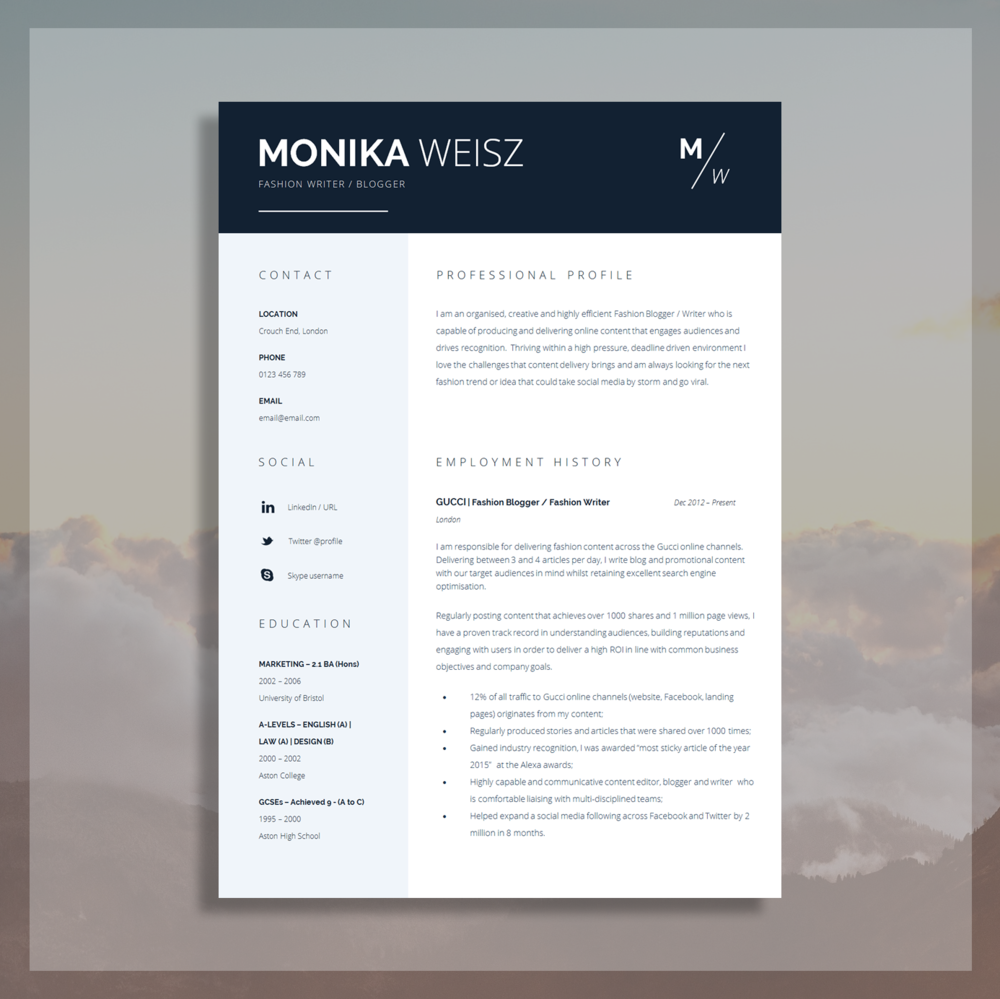 Download this Creative Resume Template Here.