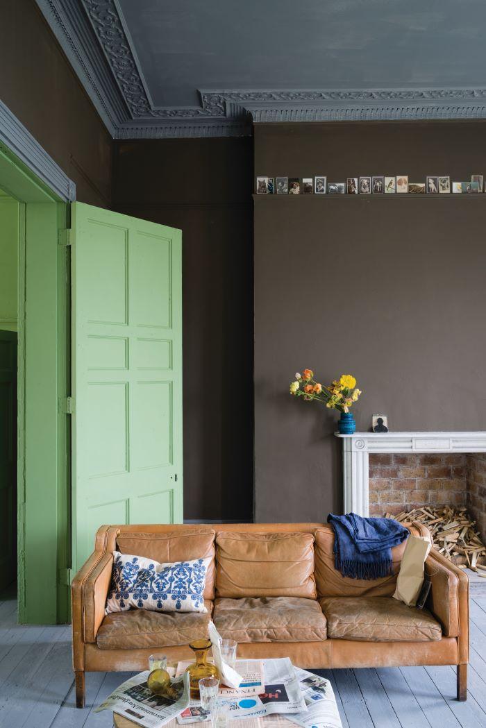 Farrow & Ball's  Salon Drab with woodwork in Yeabridge Green