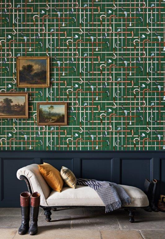 Whimsical prints: antique walking canes in Bastoni from  Cole & Son  and Fornasetti
