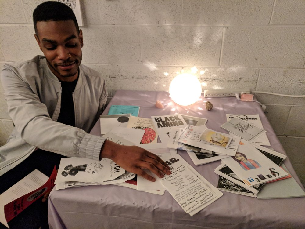 Portable Zine Library in use