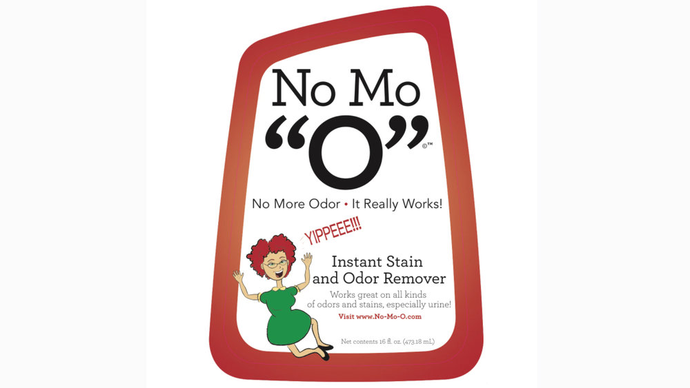 "Packaging for No Mo ""0"" stain and odor remover"