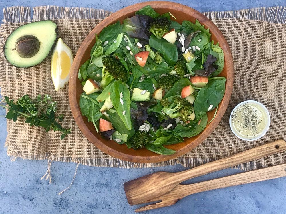 Roasted Garlic, Broccoli and Mixed Green Salad.jpg
