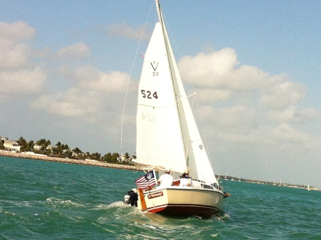 Our girl at the top of her game, sailing into Key West in 2013.