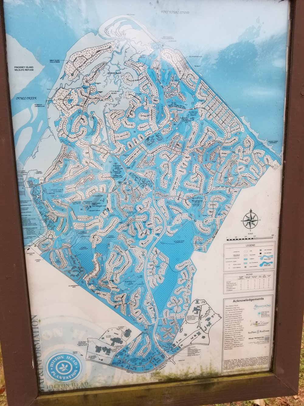 A map of Hilton Head Plantation - it's huge!  There are communities, walking paths, golf-cart paths, roads, golf-courses, conservation areas, recreation areas, and restaurants.  We were glad to find this map, because there are rules about what activities (like dog-walking) can happen where, and not all the paths are marked with their designations.