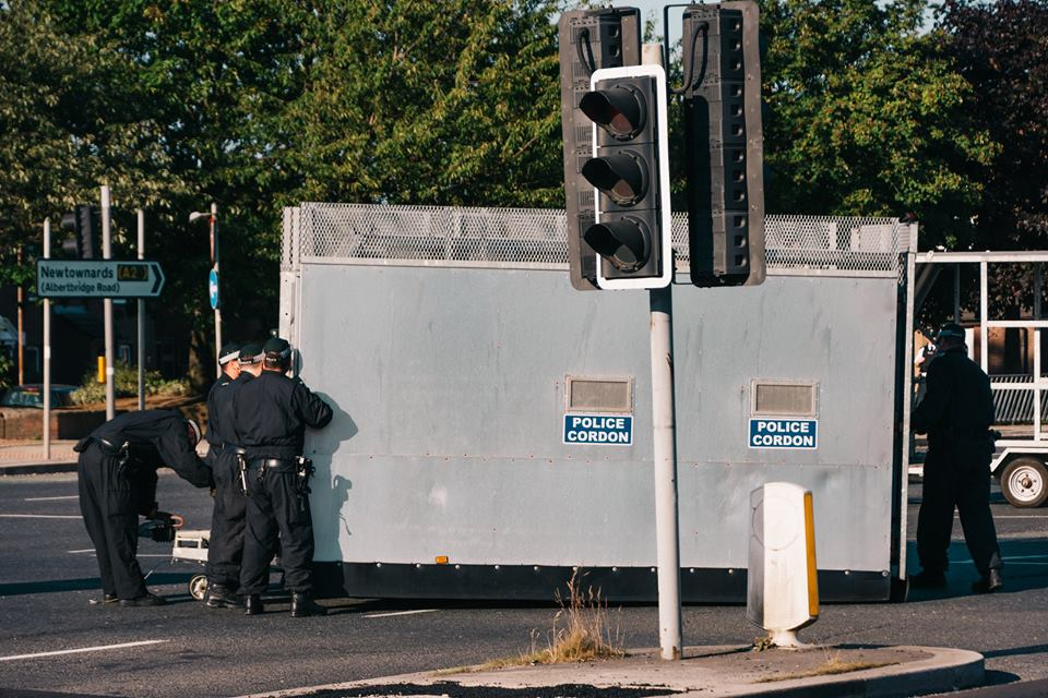 "PSNI installing ""wall of steel"" around the Short Strand area in July 2018 (IMAGE: Brendan Harkin)"