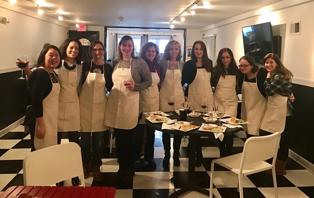 Artistic ladies enjoying some delicious bites and byob at our Paint and Sip event