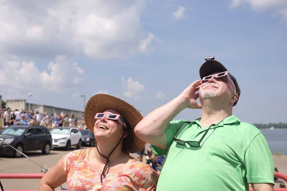 Margo and Keith watching solar eclipse in Paducah, Kentucky. August 21, 2017.