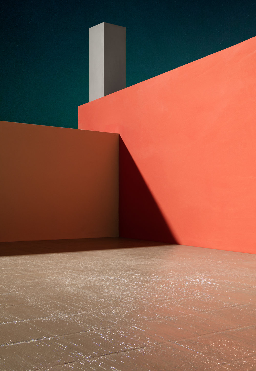 Courtyard with Orange Wall , 2017