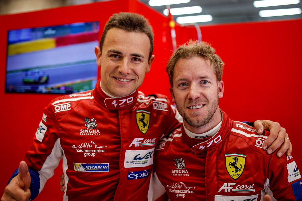 Sam Bird (right) with teammate Davide Rigon after qualifying for FIA WEC 6 Hours of Spa. Photo Credit: WEC/Adrenal Media