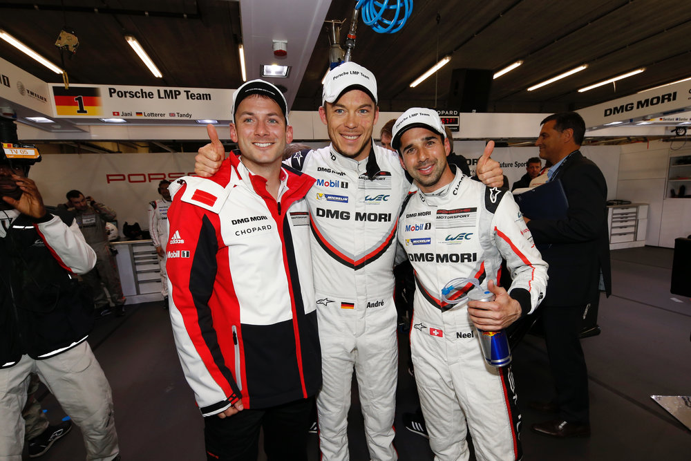 Nick Tandy (left) with Porsche LMP1 teammates Andre Lotterer (centre) and Neel Jani (right) at 6 Hours of Spa-Francorchamps. Photo credit: WEC/Adrenal Media