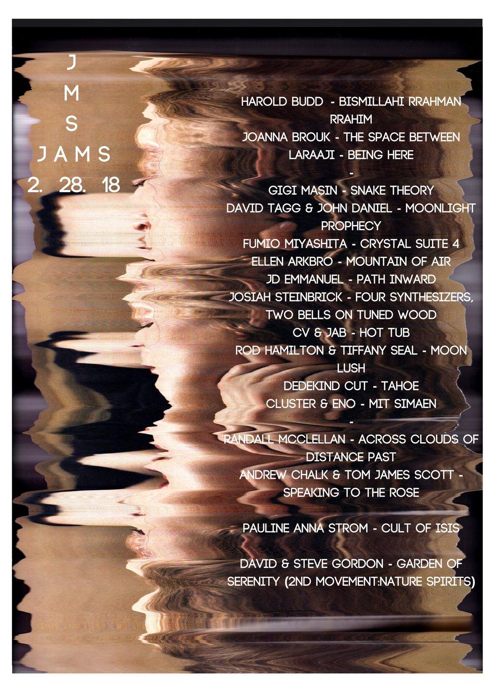 Harold Budd - Bismillahi Rrahman RrahimJoanna Brouk - The Space BetweenLaraaji - Being Here-Gigi Masin - Snake TheoryDavid Tagg & John Daniel - Moonlight ProphecyFumio Miyashita - Crystal Suite 4Ellen Arkbro - Mount (2).jpg