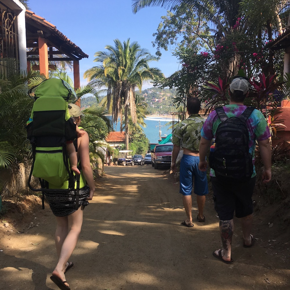 Sayulita family crew, walking into town from Los Muertos Beach.