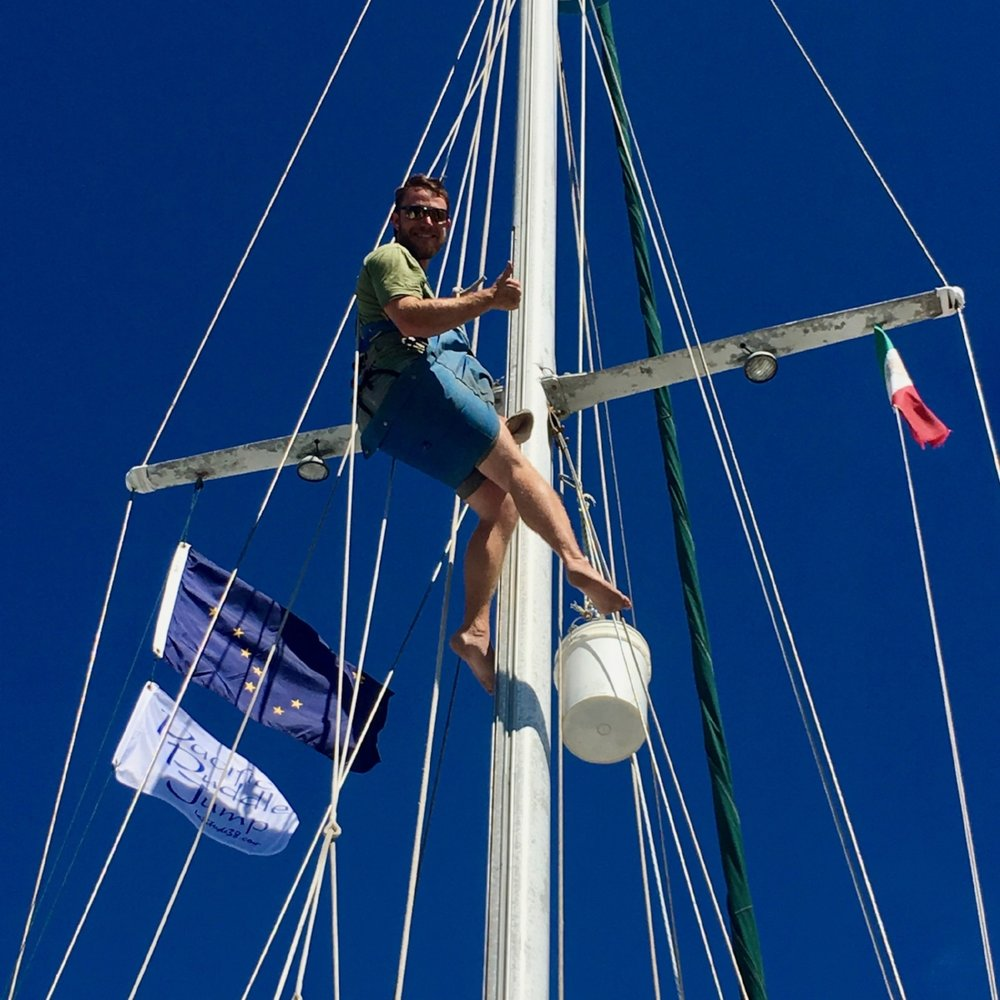 Clif doing a rig inspection on Friday morning. And, look at our new burgee!!