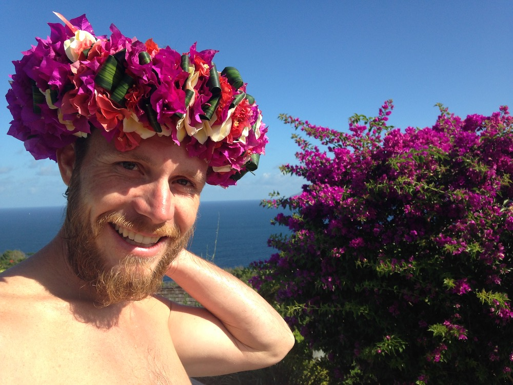 Clif got the flower crown he wanted so badly on arrival to the Marquesas!