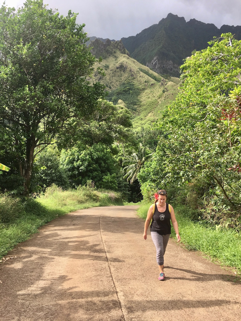 Hiking in the hills of Fatu Hiva.