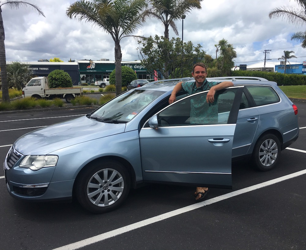 "Proud owner of our ""rugby mom"" car that will take us around NZ!"