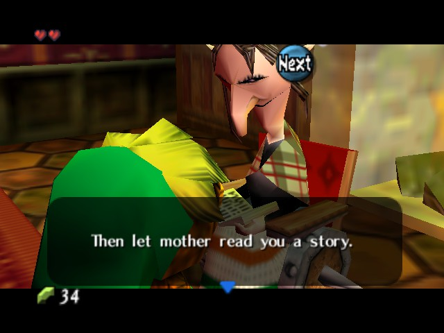 -     Story time with Anju's Granny. Until Dawn of the Next Day, Majora's Mask.