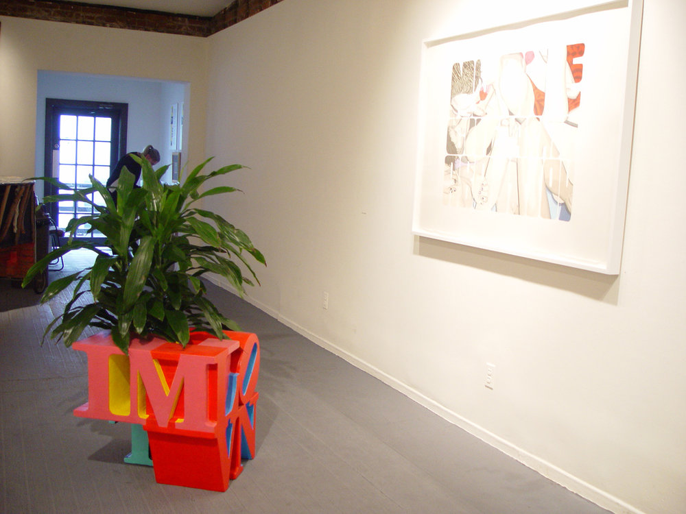 Sloganeers installation shot with Lou Laurita painting and Evander Greenfield sculpture.